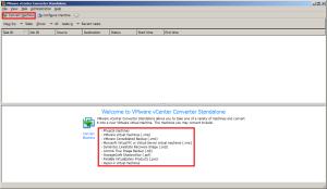 Основное окно VMware Converter