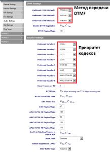 Настройки Audio - DTMF и основных голосовых кодеков