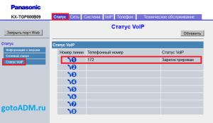 Статус VoIP Panasonic KX-TGP500