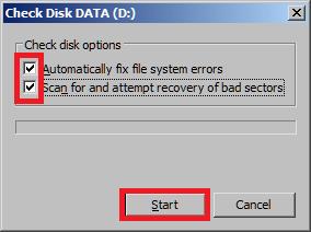 Запуск проверки и исправления ошибок на HDD